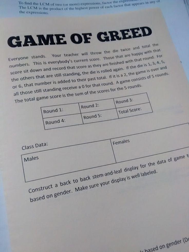 Math = Love: Statistics: Game of Greed