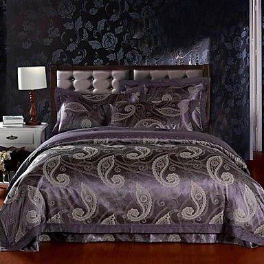 4pcs roxo floral jacquard capa de edredão de algodão conjunto – BRL R$ 225,62