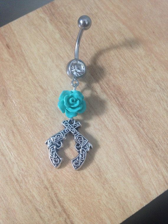 Crossed Guns Belly Ring Gun with Rose by CountryOutlawDesigns