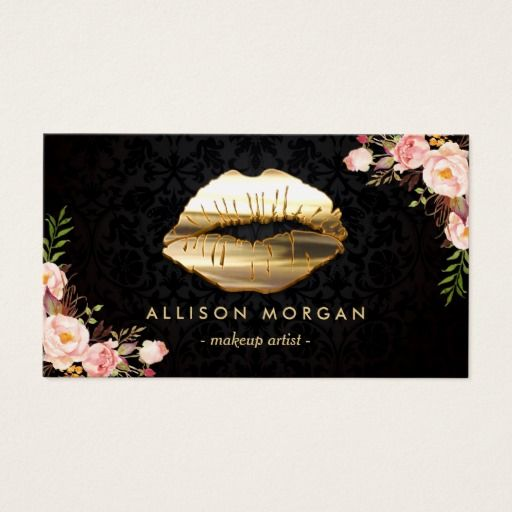 230 best makeup artist business cards images on pinterest makeup new version gold lips makeup artist floral business card colourmoves