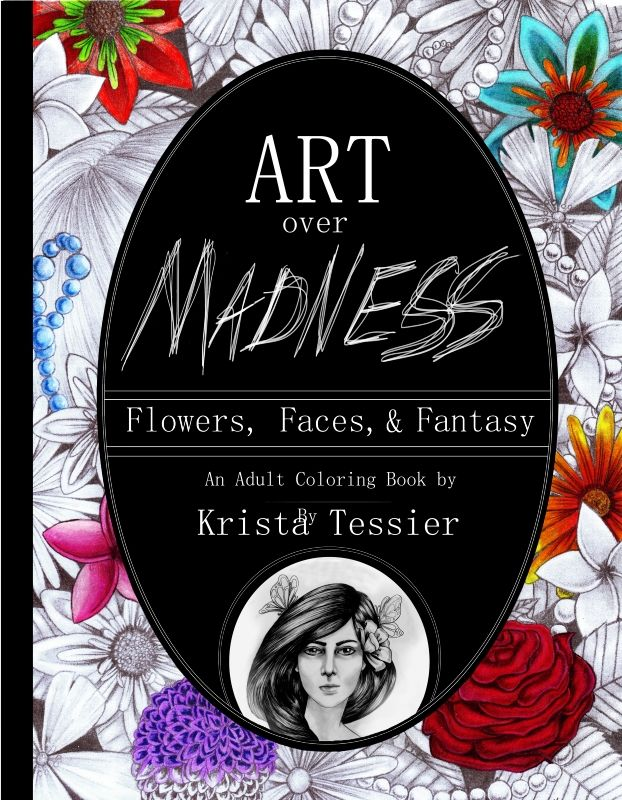 $8.99 Art Over Madness! Flowers, Faces, & Fantasy - Coloring Books - Color Me Forum