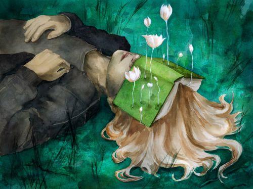 Brotan las flores entre las palabras de los libros (ilustración de Beatriz Martin Vidal)