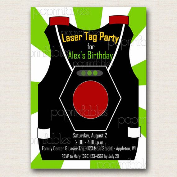 Laser Tag Vest Party Invitation Boy Green And White