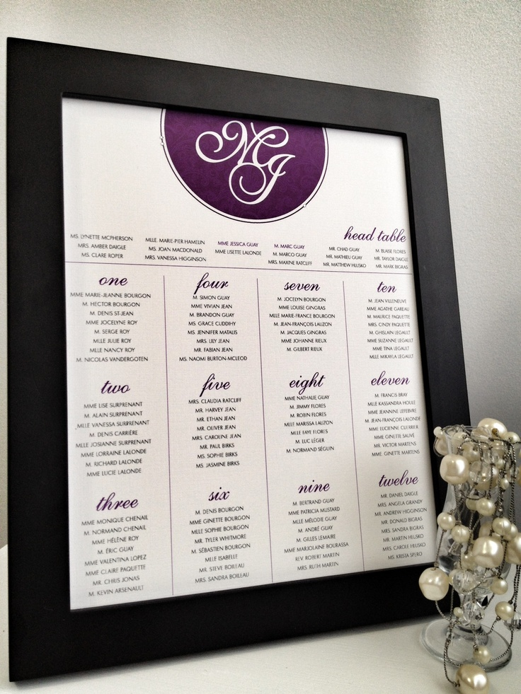 "Dandelion Willows | ""Royal Classic"" Seating Chart"