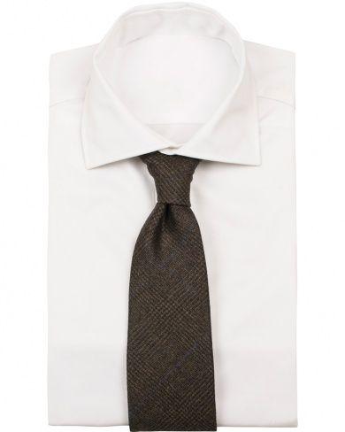 Drake's Wool/Cashmere Check Handrolled 8 cm Tie Brown  i gruppen Design B / Accessoarer / Slipsar hos Care of Carl (14094910)