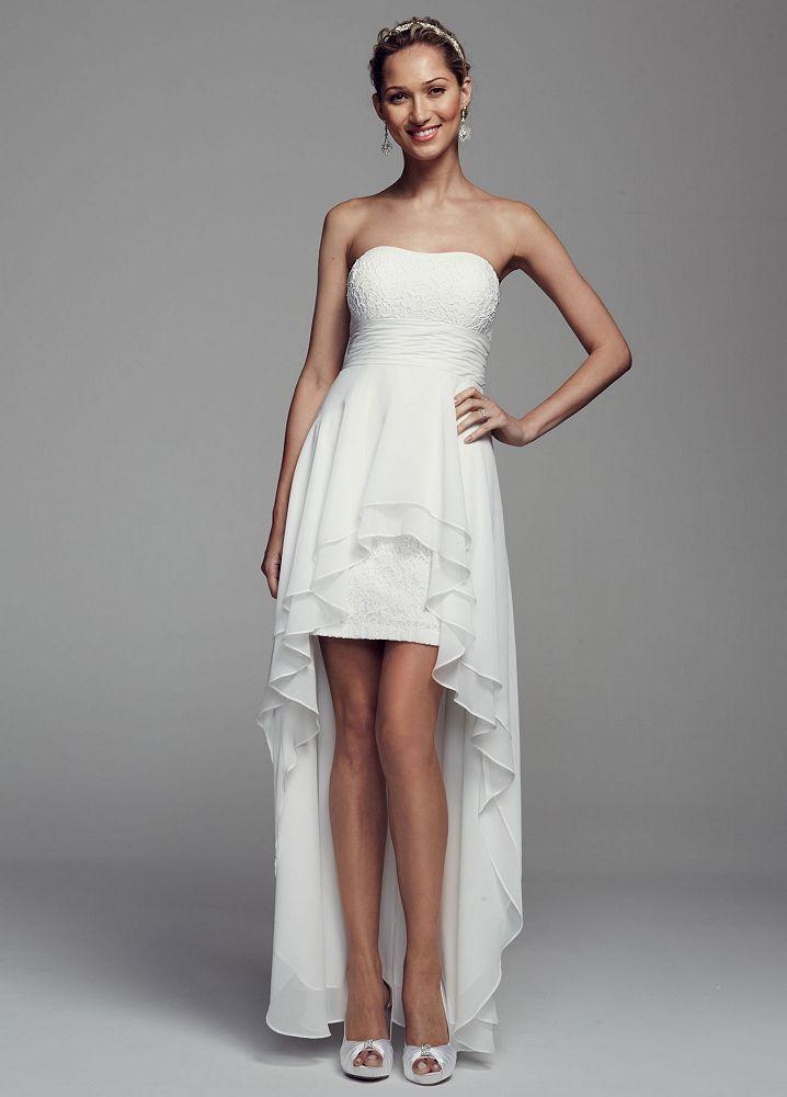 DB Studio Strapless Lace and Chiffon High Low Wedding ...