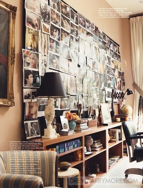 drew barrymore's office...love the wall of pics