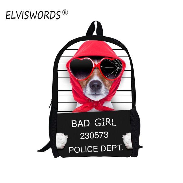 ELVISWORDS 2017 New Fashion School Bag Cool Dog Print SchoolBag Sor Boys Cool Children Bookbag Students Casual mochila infantil