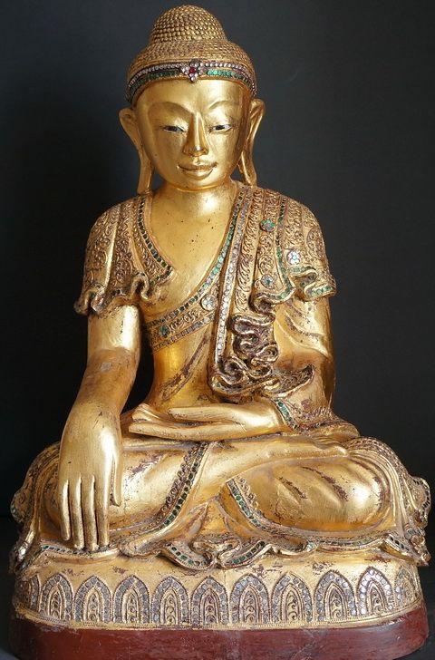 Antique Mandalay wood Buddha Statue - 19th - 20th Century