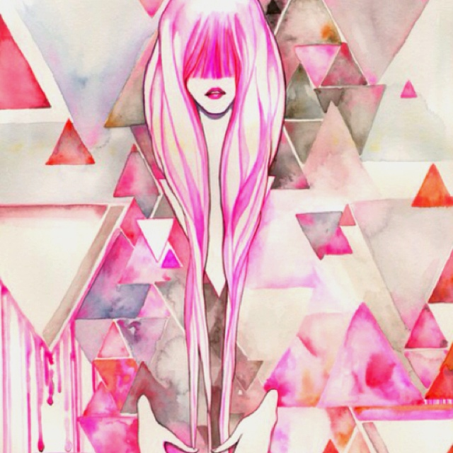 pink haze: Pink Hair, Pink Triangles, Art Inspiration, Pretty Things, Art Prints, Artsy Fartsi, Lolitaagogo Pink, Pink Art, Lolitaagogo Watercolor