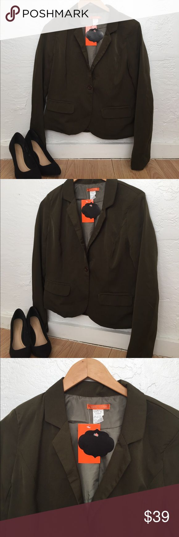 NWT Olive green blazer Olive green blazer size large from One Star.  Bust18 length 23. New with tag. One Star Jackets & Coats Blazers