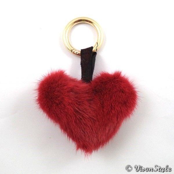 Mink heart keychain - Burgundy  https://visonstyle.eu/keychains-mink-heart-keychain-burgundy.html