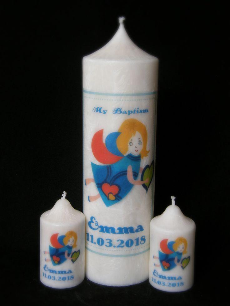 Baptism/Christening Candle Set Angel 1+2
