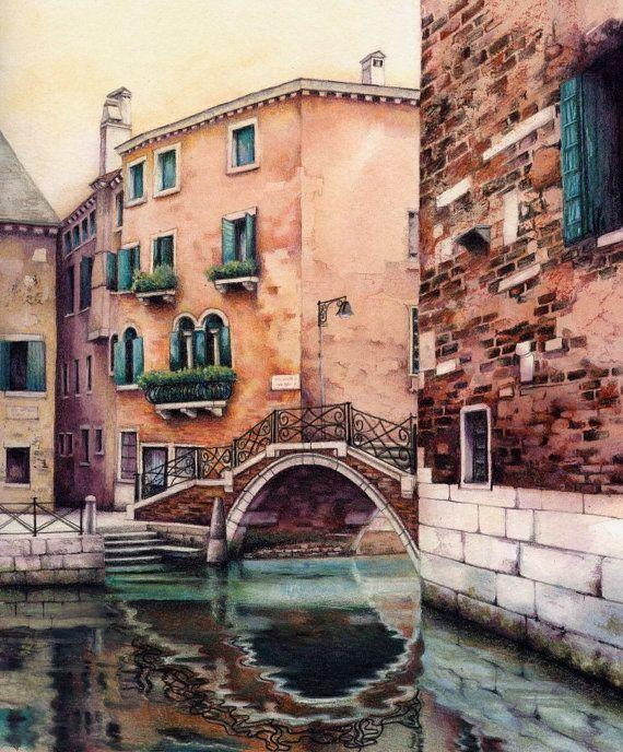 Watercolour print of Venetian canal. 7.5 x 9 by DaffodilStudio