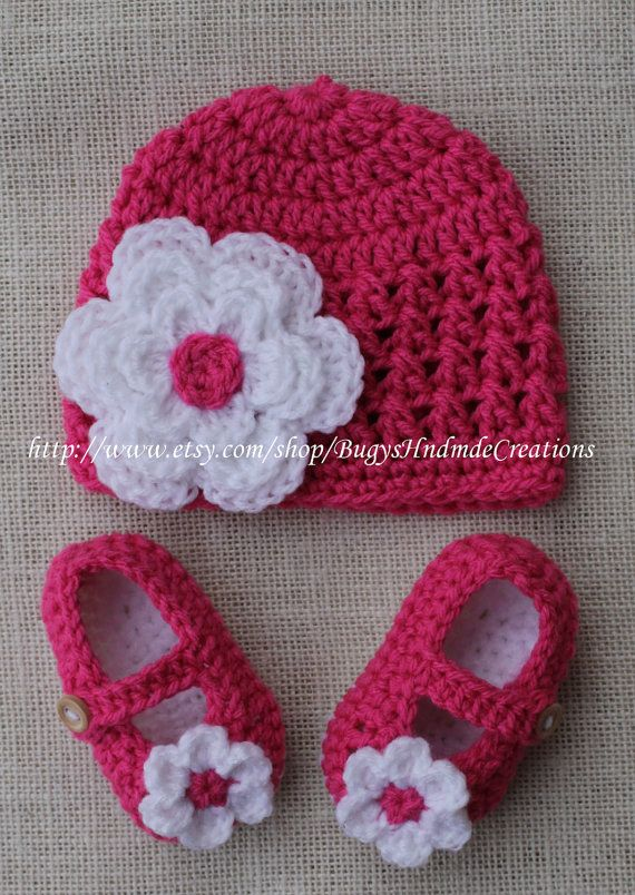 Girls Cross Stitch Hat and crochet baby shoe set. Bright pink and White on Etsy, $32.58