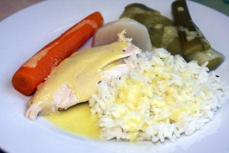 Recette poule au pot en sauce blanche et son riz, cuisinez poule au pot en sauce blanche et son riz