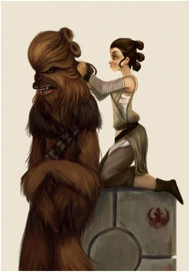 Chewie and Rey by Monique Alencar