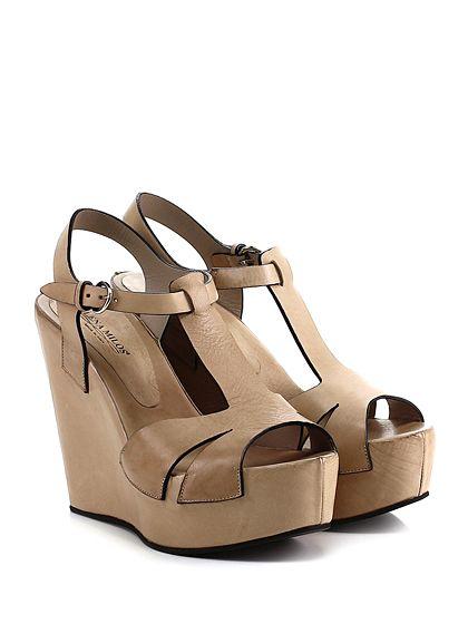 LENA MILOS - Zeppe - Donna - Zeppa in pelle con cinturino alla caviglia e suola in gomma. Tacco 125, platform 45 con battuta 80. - ECRU - € 265.00