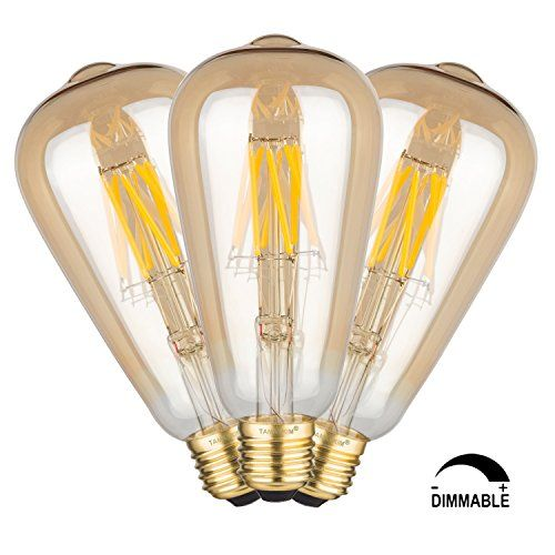 TAMAYKIM ST64 8W Regulable Antiguo de Edison Estilo Bombilla Filamento LED - 2700K Blanco Cálido 800 Lúmenes - 8 Watts Consume - Equivalente 80W - Casquillo E27 - Brillo Ajustable - Vidrio Dorado - 360° Ángulo del Haz - Pack de 3 #TAMAYKIM #Regulable #Antiguo #Edison #Estilo #Bombilla #Filamento #Blanco #Cálido #Lúmenes #Watts #Consume #Equivalente #Casquillo #Brillo #Ajustable #Vidrio #Dorado #Ángulo #Pack