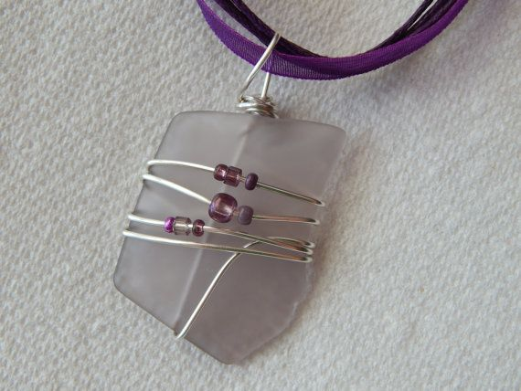 wire wrapped recycled glass pendant. Wire Wrapped Recycled Amethyst Light Purple Colored Glass Necklace Handmade Eco Friendly Jewelry Pendant Gift Idea