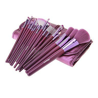 MEGAGA Purple PU Case 18Pcs Cosmetic Brush Set *** Continue to the product at the image link.
