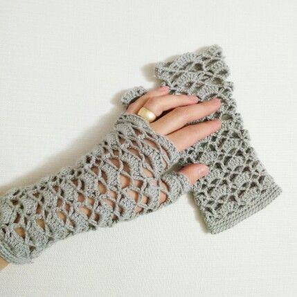 Tığ işi eldiven örgü eldiven Crochet