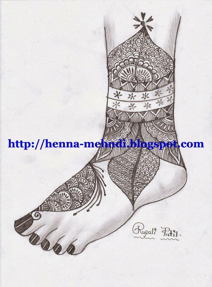 Henna (Mehndi) design for feet (leg)