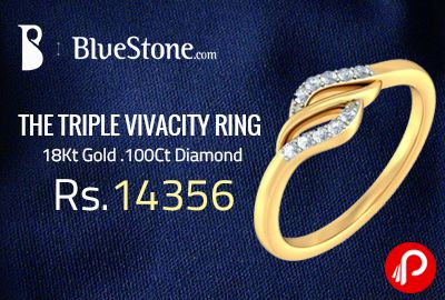 Bluestone is offering THE TRIPLE VIVACITY RING at a price of Rs.14356. Product Weight (Approx.)2.26 gms, Total Weight 0.100 Ct, Total No. Of Diamonds 10, Type 18Kt Yellow Gold, Weight(Approx) 2.239 gms.  http://www.paisebachaoindia.com/the-triple-vivacity-ring-at-rs-14356-18kt-gold-100ct-diamond-bluestone/