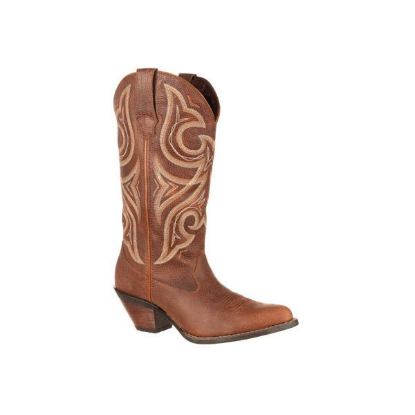 "Women's Durango Boot DRD0102 13"" Crush Jealousy Wide Calf Boot ($109) ❤ liked on Polyvore featuring shoes, boots, brown, casual, casual shoes, wide calf cowgirl boots, leather boots, cowgirl boots, wide width wide calf boots and cowboy boots"