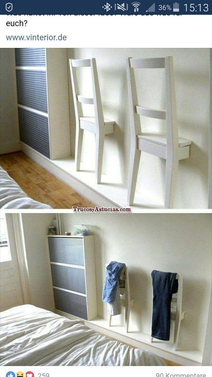 Einrichten mit IKEA: simple Stühle zu Kleiderhalterungen an der Wand umfunktionieren #Wohnung #Haus #Inspiration #Möbel #Dekoration #DIY