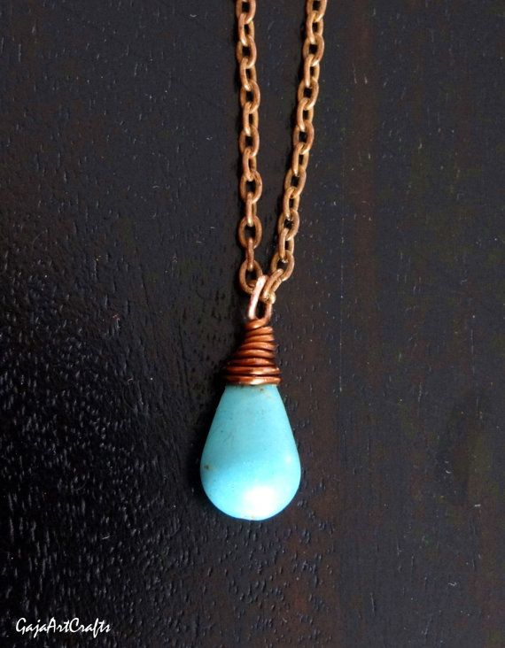 Delicate teardrop shaped blue turquoises pendant wire
