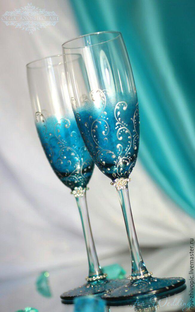 """Купить Бокалы """"Magic Dreams""""(Волшебные Сны). Роспись - бокалы для свадьбы, свадебные бокалы, свадебные аксессуары"""
