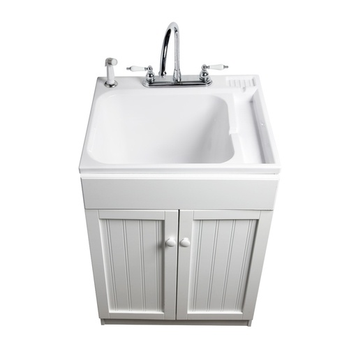 Asb 25 In X 22 In White Freestanding Composite Laundry Utility Sink With Faucet 104030 0
