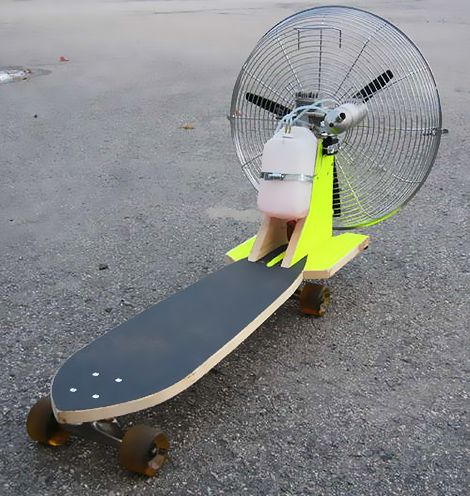 Propeller Powered Skateboard? DIY RC controled skateboard propulsion system  By Ryan Bavetta from Crazy Builders via @likecool