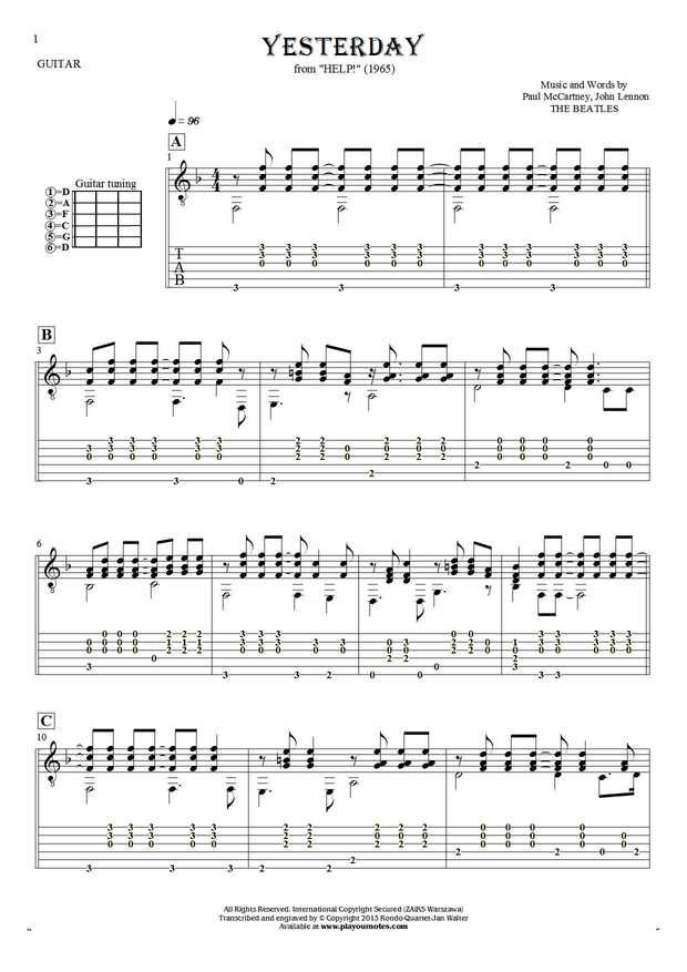 Yesterday - Paul McCartney. From album Help! (1965). Part: Notes and tablature for guitar
