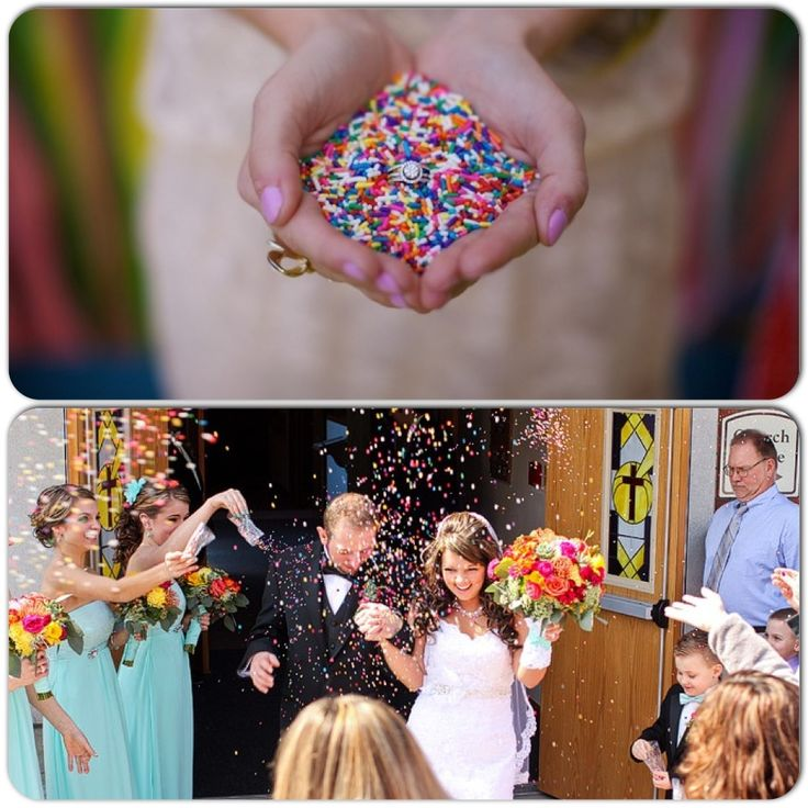Throwing sprinkles instead of rice at a wedding. Fun pictures! Planning on cupcakes so it would fit great!