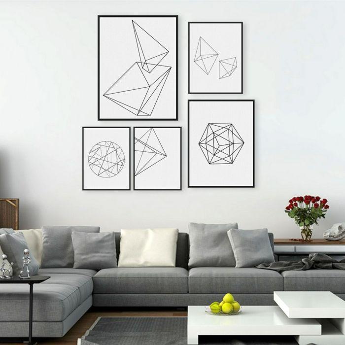 Muster In Schwarz Weiß Wandgestaltung Mit Farbe Wohnzimmer Einrichten Weiss  Schwarz Konturen