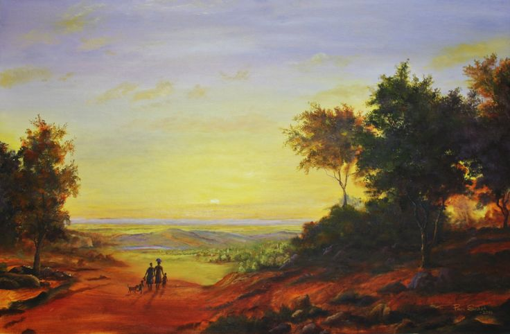 On Our Way Home.   93 x 63cm.  Oil on Canvas