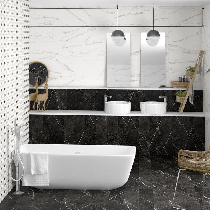 Arcana Ceramica   bathroom   Porcelain tiles   coverings   black and whit bathroom   inspiration