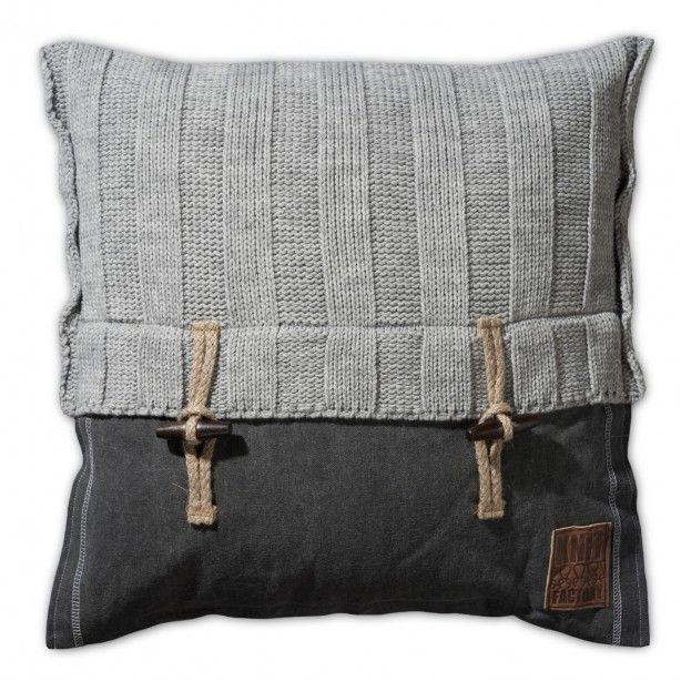 Gebreid kussen Rib grijs - 50x50 cm