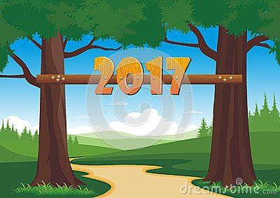 Happy new year 2017 wood font on the trees - cartoon design,  beautiful view, pretty and funny