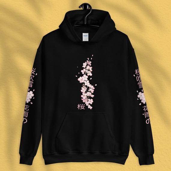 Japanese Blossom Hoodie Cherry Tree Blossom Kawaii Anime Etsy Hoodies Japanese Blossom Unisex Hoodies