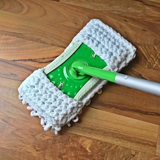 Super fast and super functional! Crochet this sweeper cover in under an hour and reuse it again and again!