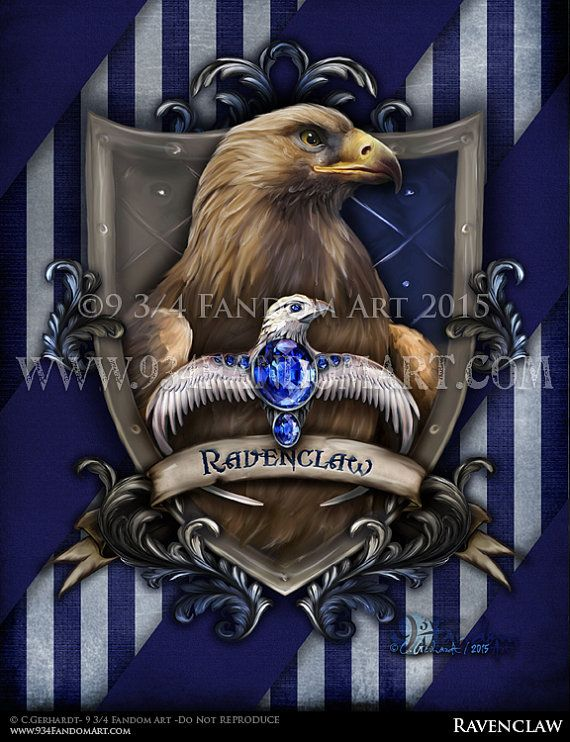 """Ravenclaw "" the movie version. This version of Ravenclaw's Crest is of the houses colors portrayed in J.K. Rowling's Harry Potter Movies. The colors on this Ravenclaw crest of silver/gray and blue."