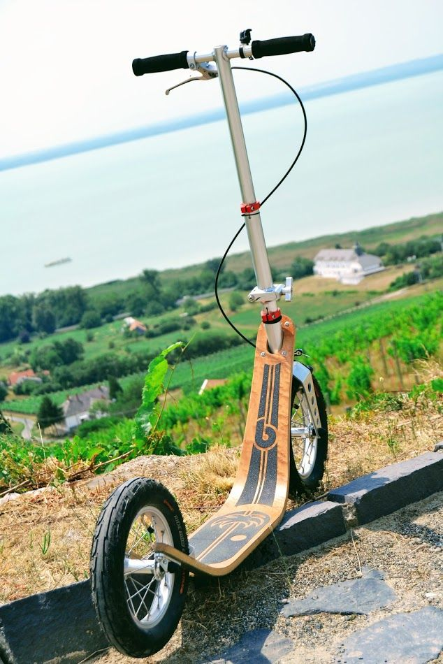 Boardy with a view over lake Balaton. Even this cobblestone road was no obstacle for the Boardy. Check out the most comfortable kick scooter @ http://www.boardyonboard.com