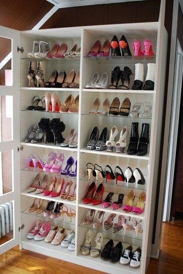 turn a bookshelf into a shoe rack.... Love this idea!
