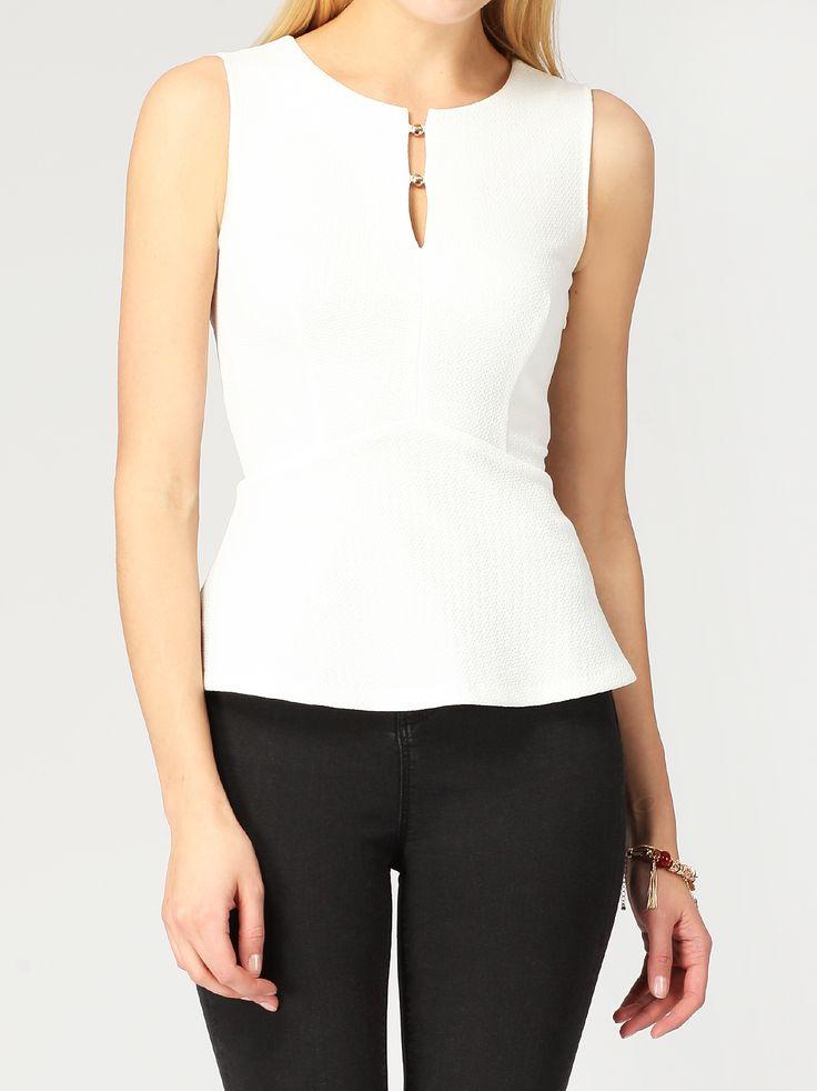 Блузка с баской с застежкой на пуговицы - Рубашки и блузки   LIMÉ