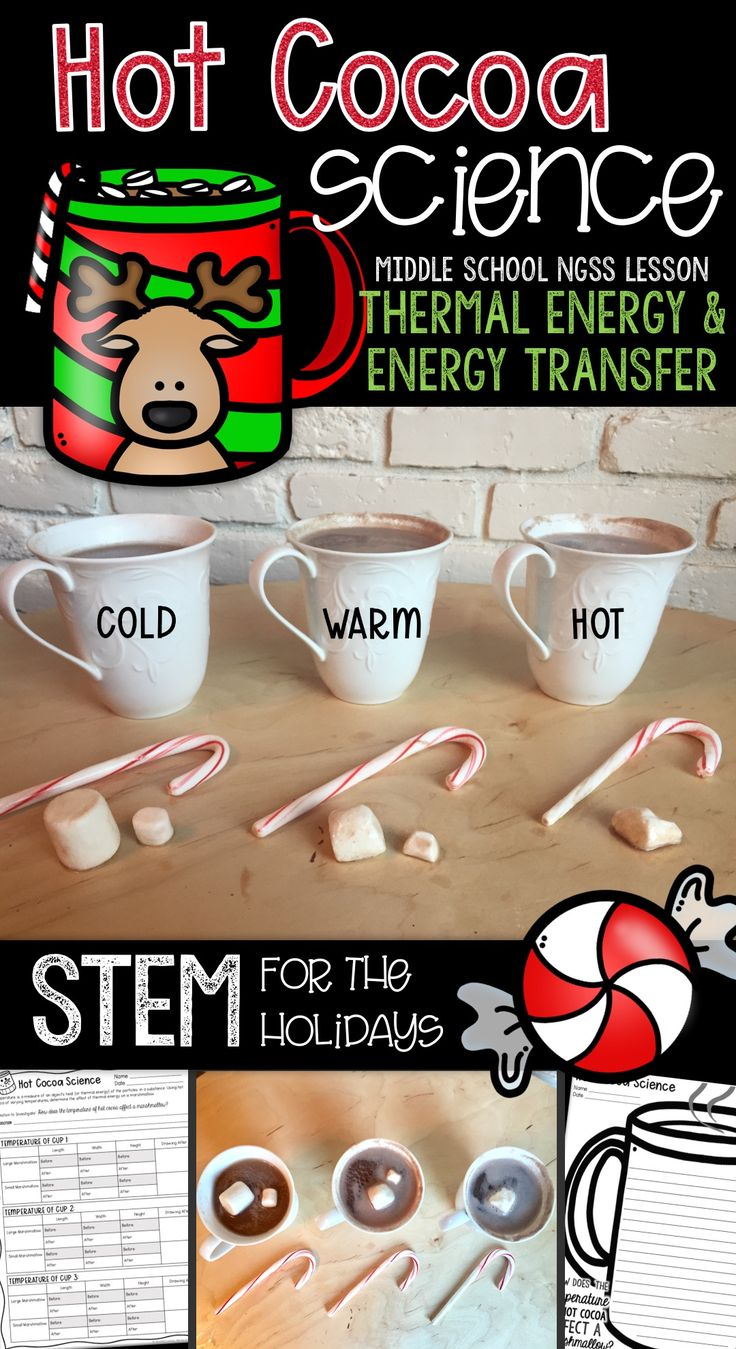 Who doesn't love hot cocoa?! Engage your middle school scientists while exploring the effect of temperature (thermal energy) on marshmallows and candy canes in hot cocoa. Students will practice their science and engineering practices skills by making predictions, planning investigations, making observations, analyzing data, drawing conclusions, and they'll love every minute of it! Students will also be exposed to crosscutting concepts by looking for patterns when comparing melting…