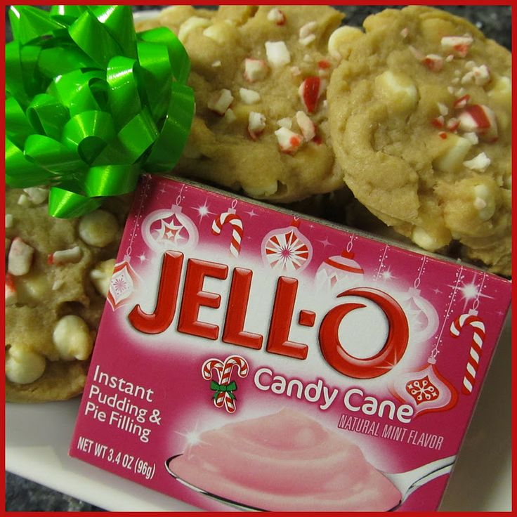White Chocolate Candy Cane Pudding Cookies