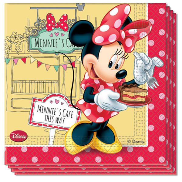 Minnie Cafe Napkins 2 Ply - 33cm - Pack of 20 Sold :Pack of 20. Size: 33cm x 33cm approx Thickness: 2 Ply. Printed only on one side